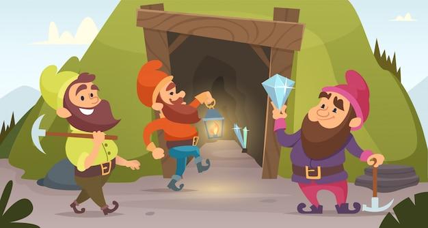 Anões na mina. personagens anões que minam rochas douradas