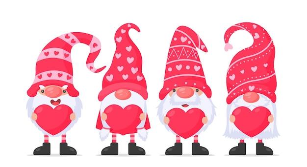 Anões ou gnomos seguram balões de coração rosa. para o dia dos namorados