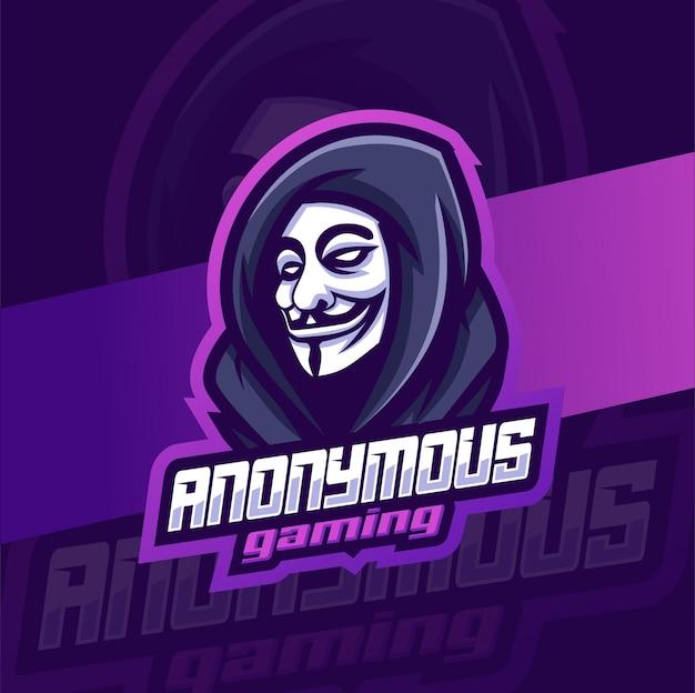 Anônimo máscara cabeça mascote jogos esport logotipo