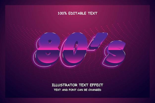 Anos 80, efeito de texto editável 3d roxo gradação rosa azul estilo moderno sombra neon