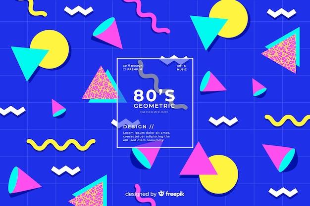 Anos 80 fundo geométrico design com estilo retro