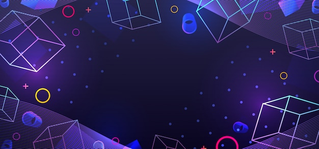 Anos 80 retro sci-fi fundo neo memphis geométrico com gradiente