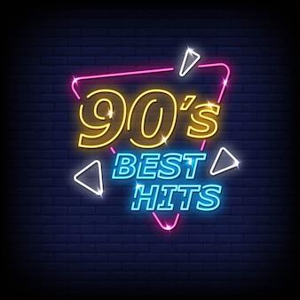 Anos 90 melhores hits sinais néon estilo texto vector