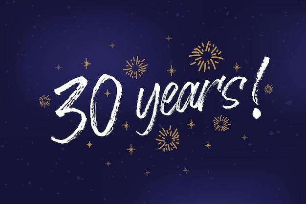 Anos, cartão, banner, anos, saudação, riscado, caligrafia, texto, palavras, ouro, estrelas, desenhado, mão