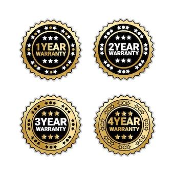 Anos de garantia coleção de emblemas isolado conjunto dourado