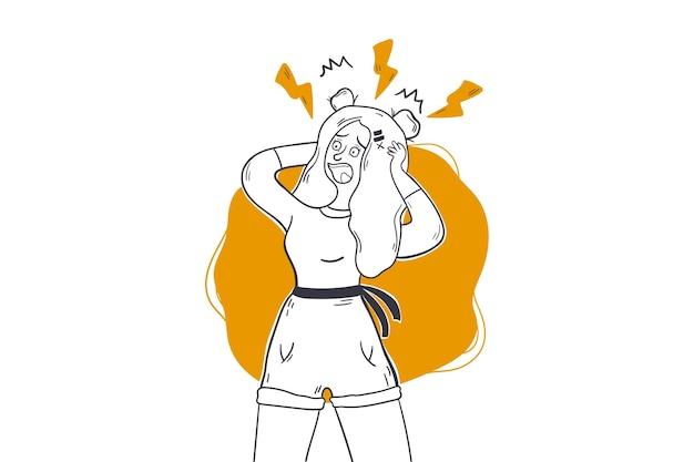 Ansiedade, pânico, conceito de estresse. Vetor Premium