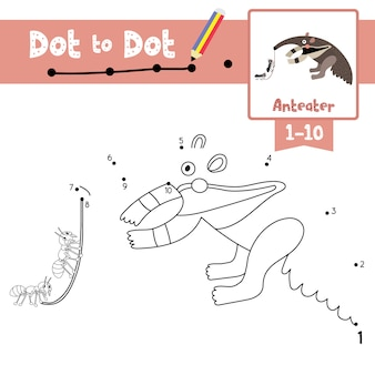 Anteater dot to dot game e livro para colorir