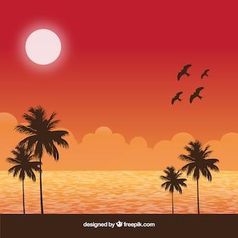 Antecedentes com pássaros e paisagem de verão
