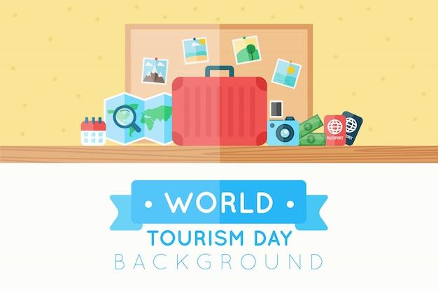 Antecedentes da bagagem pronta para o dia do turismo