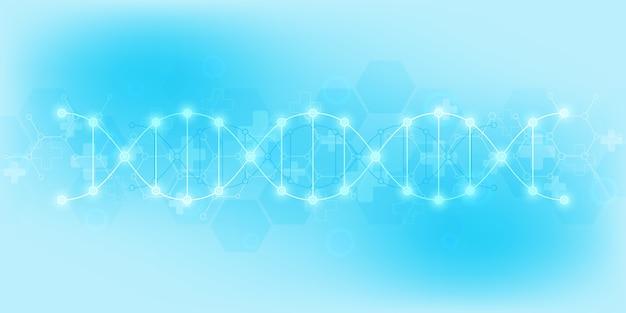Antecedentes da cadeia de dna e engenharia genética ou pesquisa em laboratório