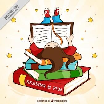 Antecedentes da mão da menina desenhada lendo um livro