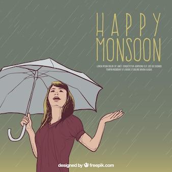 Antecedentes da mulher de monção feliz com guarda-chuva