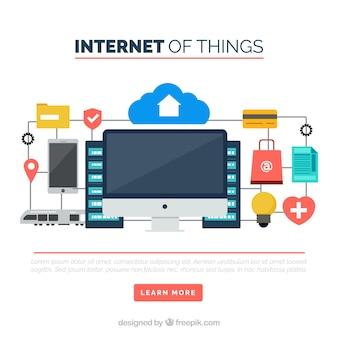 Antecedentes das coisas na internet em design plano