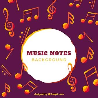Antecedentes das notas musicais de aquarela e laranja