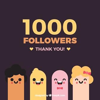 Antecedentes de 1000 seguidores com personagens bonitos em design plano