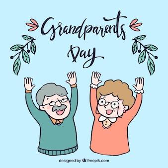 Antecedentes de avós felizes desenhados a mão