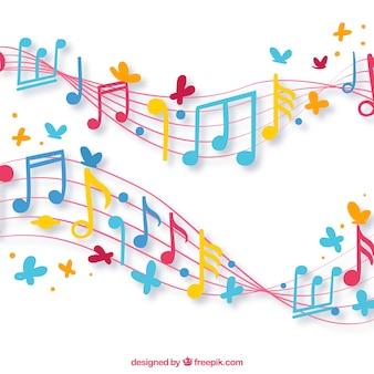 Antecedentes de bastões com notas musicais coloridas