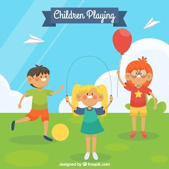 Antecedentes de crianças no parque brincando