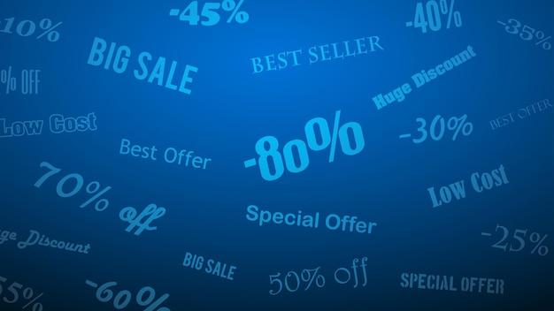 Antecedentes de descontos e ofertas especiais, feitos de inscrições, em tons de azul