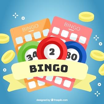 Antecedentes de elementos de bingo em design plano