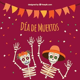 Antecedentes de esqueletos que celebram o dia dos mortos
