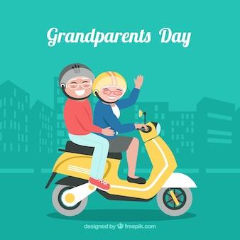 Antecedentes de motociclistas de avós em design plano