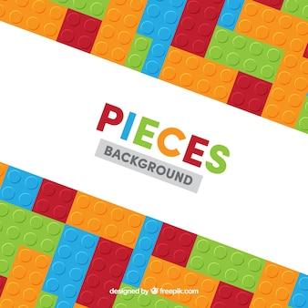 Antecedentes de peças de jogos coloridas em design plano