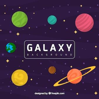 Antecedentes de planetas e estrelas coloridas