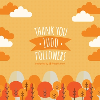 Antecedentes de um 1k seguidores de paisagem em tons de laranja