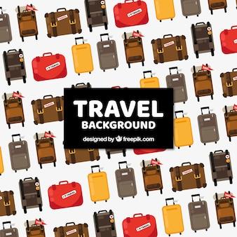 Antecedentes de viagem com bagagem em estilo plano