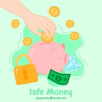 Antecedentes do cofrinho com dinheiro
