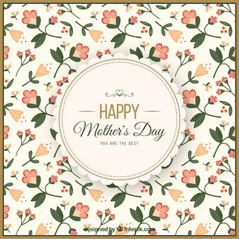 Antecedentes do dia das mães com flores delicadas no estilo do vintage