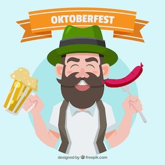 Antecedentes do homem com roupas tradicionais comemorando o mais oktoberfest