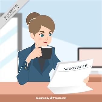 Antecedentes do jornal da leitura da mulher de negócio