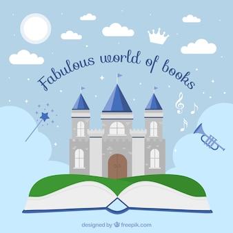 Antecedentes do livro aberto com belo castelo