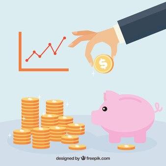 Antecedentes estatísticos e cofrinho com moedas