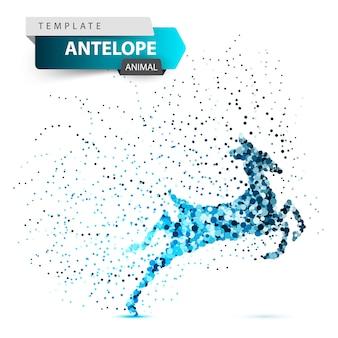 Antelope, duiker, hartebeest, veado, gazela, ponto, ilustração
