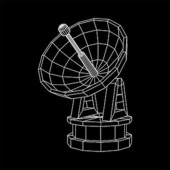 Antena de rádio direcional de radar com antena parabólica wireframe low poly