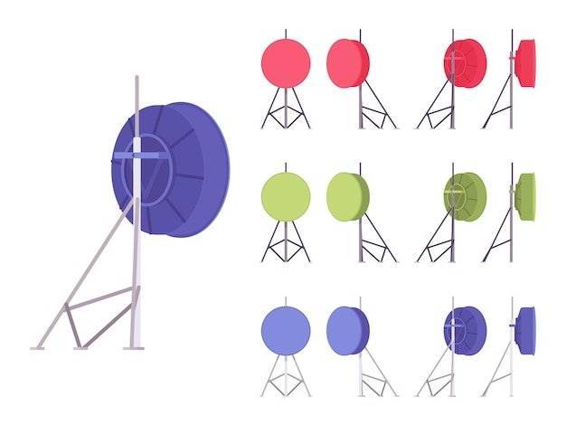 Antena de satélite definida para transmissão. serviço caseiro de parabólica ao ar livre para recepção de sinal de televisão, construção moderna. ilustração em vetor estilo simples dos desenhos animados, isolada no fundo branco, vista diferente