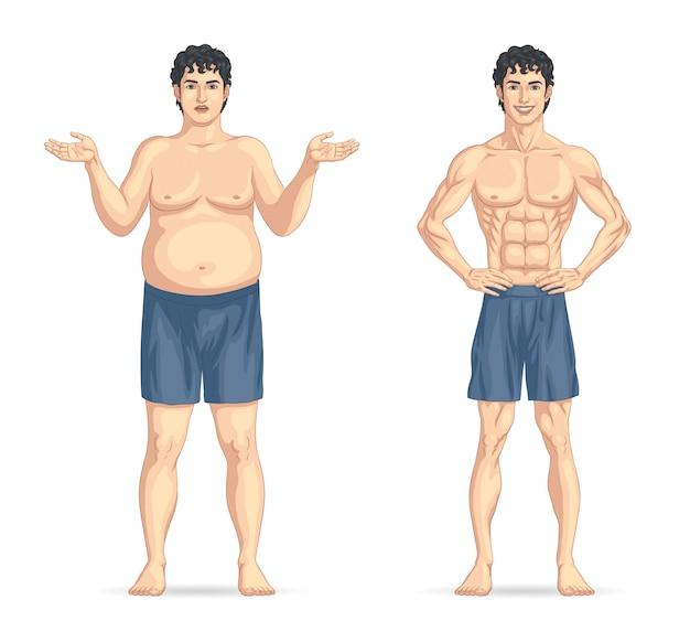 Antes e depois da perda de peso, gordo e magro masculino