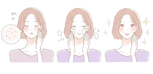 Antes e depois de mulheres de meia-idade que sofrem de escurecimento dos poros. sobre fundo branco.