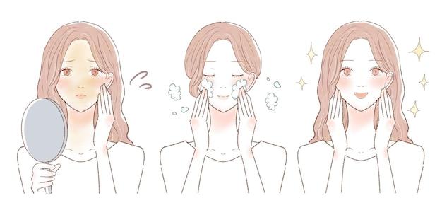 Antes e depois de mulheres que sofrem de pele opaca. sobre fundo branco.