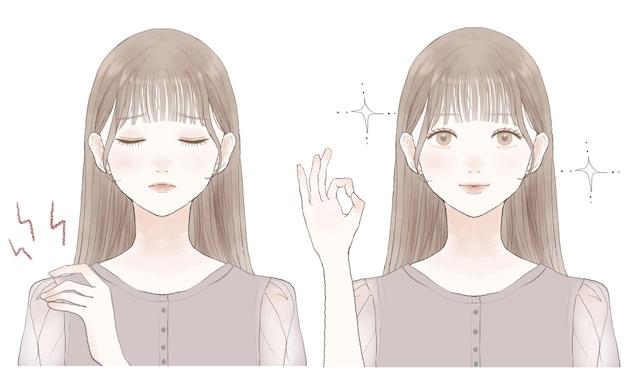 Antes e depois de uma mulher que sofre de ombros rígidos. sobre um fundo branco.