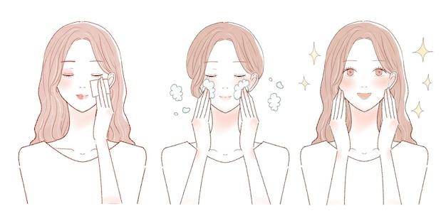 Antes e depois de uma mulher que tira a maquiagem. sobre fundo branco.
