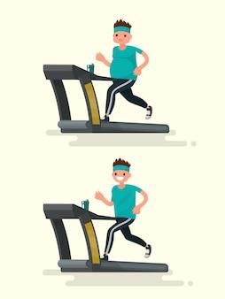 Antes e depois. homem obeso correndo em uma esteira e ele após a ilustração de emagrecimento