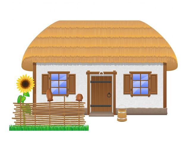 Antiga casa de fazenda com uma ilustração em vetor de telhado de colmo