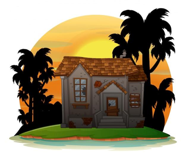 Antiga casa de tijolos na ilha