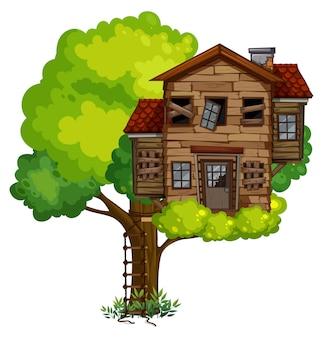 Antiga casa na árvore na árvore