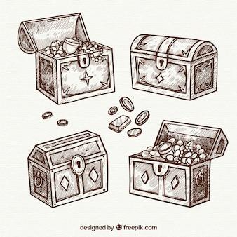Antiga coleção de baú de tesouro com design plano