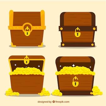 Antiga coleção de caixa de tesouro com design plano